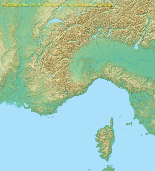 Cartografia a rilievo delle Alpi Occidentali e del Mar Ligure